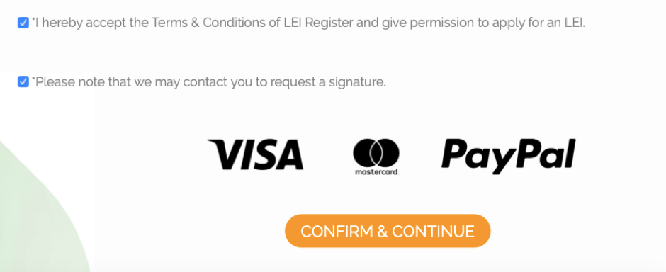 by clicking confirm & continue you'll accept the Terms & Conditions of Lei Register